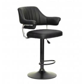 Кресло JEFF (Джеф) BAR BASE барное на черном блине, экокожа черная