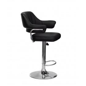 Кресло JEFF (Джеф) BAR BASE барное на хромированном блине, экокожа черная