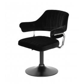 Кресло JEFF (ДЖЕФ) BASE с подлокотниками на черном блине, черный бархат (B-1011)