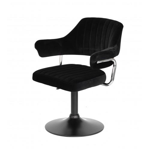Купить Кресло JEFF (ДЖЕФ) BASE с подлокотниками на черном блине, черный бархат (B-1011)