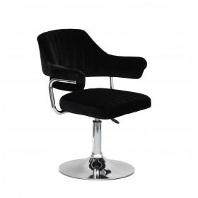 Кресло JEFF (ДЖЕФ) BASE с подлокотниками на хромированном блине, черный бархат (B-1011)