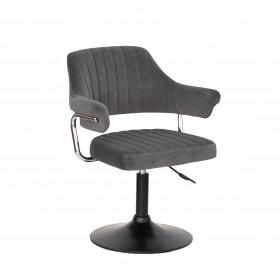 Кресло JEFF (ДЖЕФ) BASE с подлокотниками на черном блине, серый бархат (B-1004)