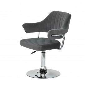 Кресло JEFF (ДЖЕФ) BASE с подлокотниками на хромированном блине, серый бархат (B-1004)