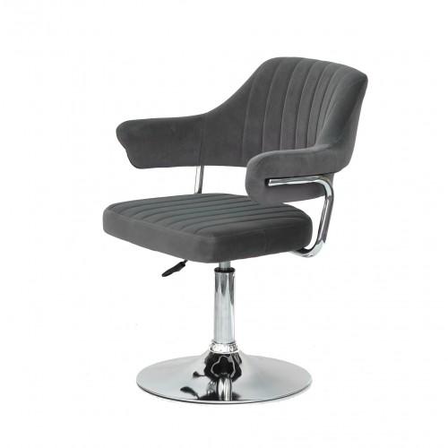 Купить Кресло JEFF (ДЖЕФ) BASE с подлокотниками на хромированном блине, серый бархат (B-1004)