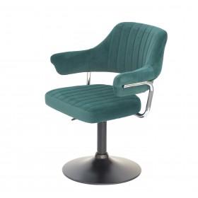 Кресло JEFF (ДЖЕФ) BASE с подлокотниками на черном блине, зеленый бархат (B-1003)