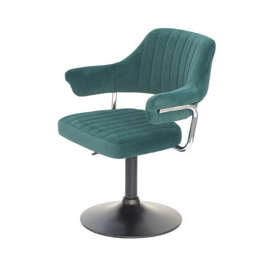 Купить Кресло JEFF (ДЖЕФ) BASE с подлокотниками на черном блине, зеленый бархат (B-1003)