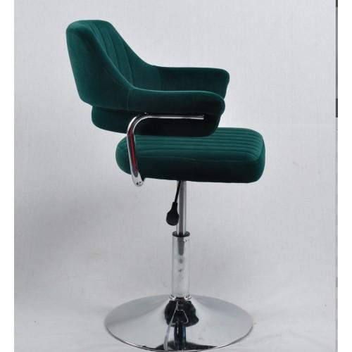 Купить Кресло JEFF (ДЖЕФ) BASE с подлокотниками на хромированном блине, зеленый бархат (B-1003)