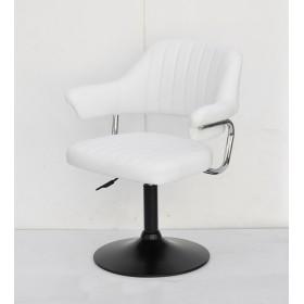 Кресло JEFF (ДЖЕФ) BASE с подлокотниками на черном блине, экокожа белая