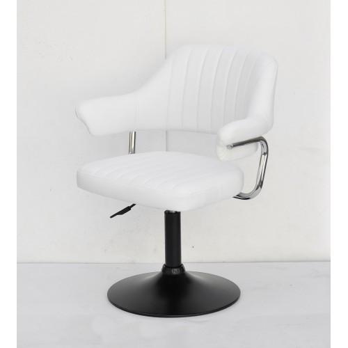Купить Кресло JEFF (ДЖЕФ) BASE с подлокотниками на черном блине, экокожа белая