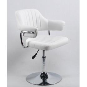 Кресло JEFF (ДЖЕФ) BASE с подлокотниками на хромированном блине, экокожа белая