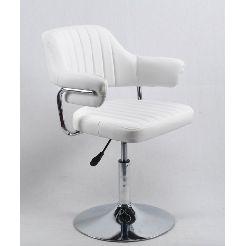 Купить Кресло JEFF (ДЖЕФ) BASE с подлокотниками на хромированном блине, экокожа белая