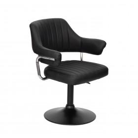 Кресло JEFF (ДЖЕФ) BASE с подлокотниками на черном блине, экокожа черная