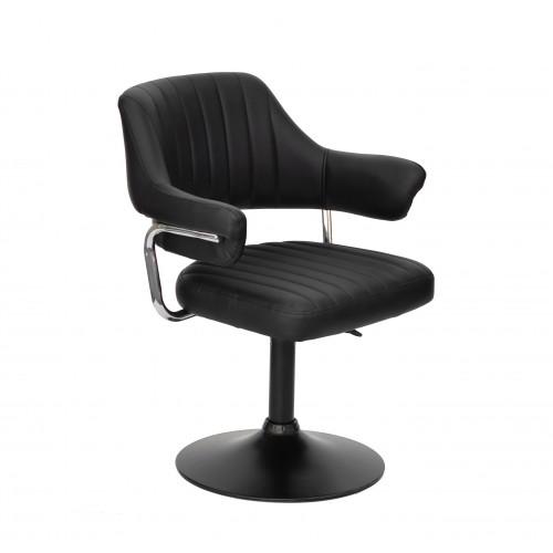 Купить Кресло JEFF (ДЖЕФ) BASE с подлокотниками на черном блине, экокожа черная