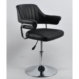 Кресло JEFF (ДЖЕФ) BASE с подлокотниками на хромированном блине, экокожа черная