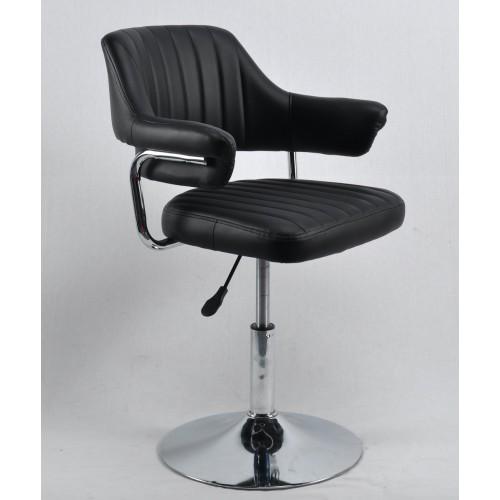 Купить Кресло JEFF (ДЖЕФ) BASE с подлокотниками на хромированном блине, экокожа черная