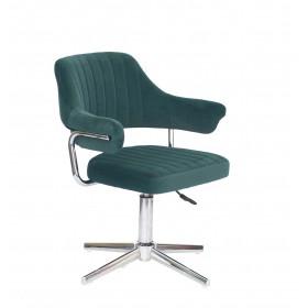Кресло JEFF (ДЖЕФ) MODERN BASE на хромированной крестовине, зеленый бархат (B-1003)