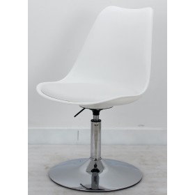 Кресло барное Milan (Милан) хромированная база,  кожзам белый (07)