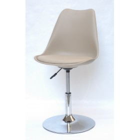Кресло барное Milan (Милан) хромированная база, кожзам бежевый (06)