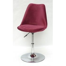 Кресло барное Milan (Милан) хромированная база, бархат бордо В (2)