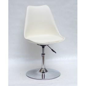 Кресло барное Milan (Милан) хромированная база, кожзам молочный (56)