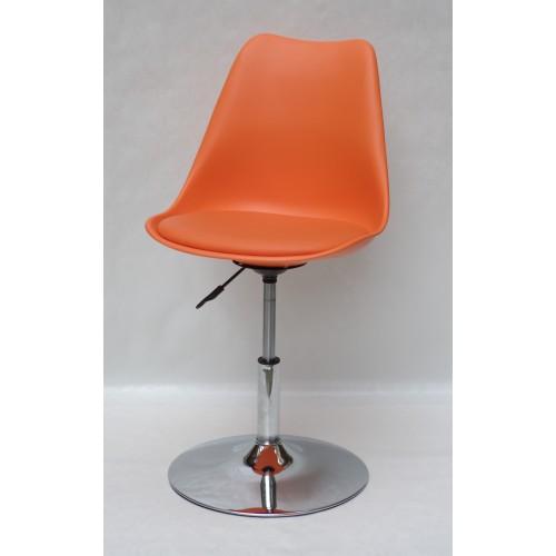 Купить Кресло барное Milan (Милан) хромированная база, кожзам оранжевый (70)