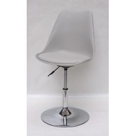 Кресло барное Milan (Милан) хромированная база, кожзам серый (10)