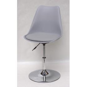 Кресло барное Milan (Милан) хромированная база, кожзам серый (35)
