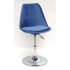 Кресло барное Milan (Милан) хромированная база, бархат синий В (1)