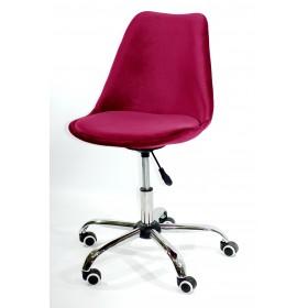 Кресло офисное Milan (Милан) хромированная база, бархат бордо В (2)