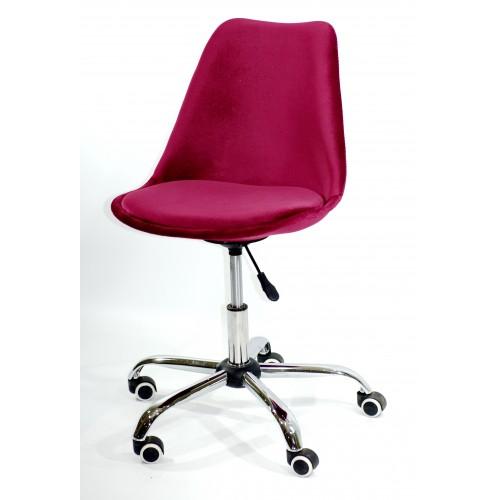 Купить Кресло офисное Milan (Милан) хромированная база, бархат бордо В (2)