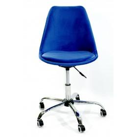 Кресло офисное Milan (Милан) хромированная база, бархат синий В (1)