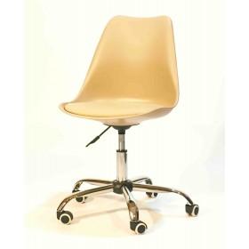 Кресло офисное Milan (Милан) хромированная база, экокожа, бежевый (06)