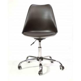 Кресло офисное Milan (Милан) хромированная база, экокожа, черный (04)
