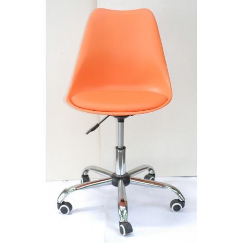 Купить Кресло офисное Milan (Милан) хромированная база, экокожа, оранжевый (70)