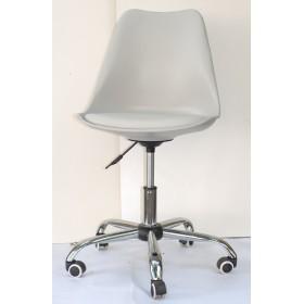 Кресло офисное Milan (Милан) хромированная база, экокожа, серый (10)