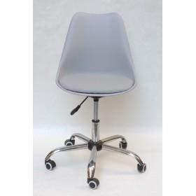 Кресло офисное Milan (Милан) хромированная база, экокожа, серый (35)