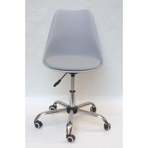 Купить Кресло офисное Milan (Милан) хромированная база, экокожа, серый (35)