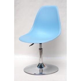 Кресло барное Nik (Ник) хромированная база, пластик голубой (50)