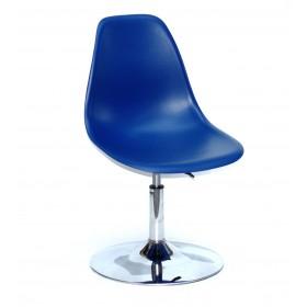 Кресло барное Nik (Ник) хромированная база, пластик синий (54)