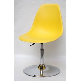Кресло барное Nik (Ник) хромированная база, пластик желтый (12)