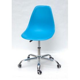 Кресло офисное Nik (Ник) хромированная база, пластик голубой (51)