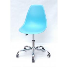 Кресло офисное Nik (Ник) хромированная база, пластик голубой (52)