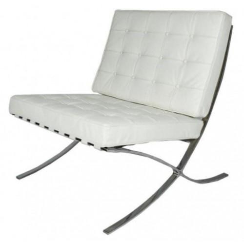 Купить Кресло Барселона белое, экокожа