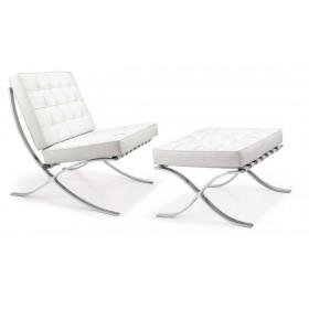 Кресло Барселона белое с оттоманкой, экокожа