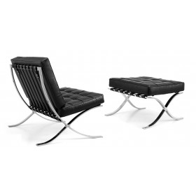 Кресло Барселона черное с оттоманкой, экокожа