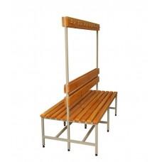 Скамейка для раздевалки, с спинкой и вешалкой с крючками, двухсторонняя