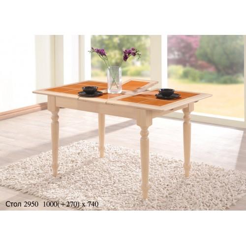 Купить Стол деревянный СТ 2950 с раскладной керамической столешницей 1000(+270)х750x750h беленый дуб