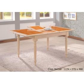 Стол деревянный СТ 364560 с керамической столешницей 1125(+375)х900x750h беленый дуб