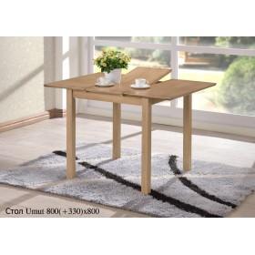 Стол деревянный UMUT (УМУТ) античный беж раскладной 800(+330)x800x750-800h