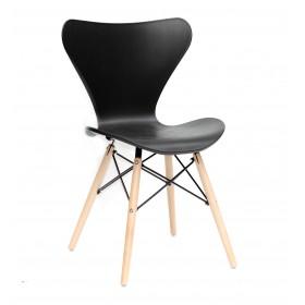 Стул Max (Макс) пластик черный, деревянные ножки
